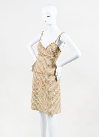 Chanel Boutique Beige Gold Multicolor Tweed Sheath Dress Front