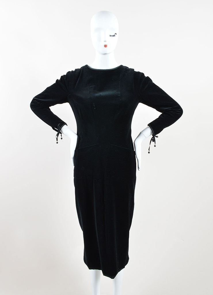 Chanel Black Velvet Ribbon Tie Long Sleeve Sheath Dress Frontview