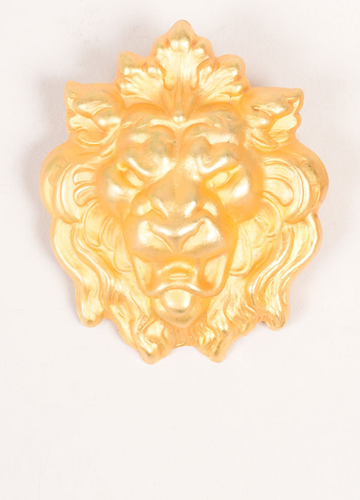 Misia Gold Toned Lion Earrings Detail