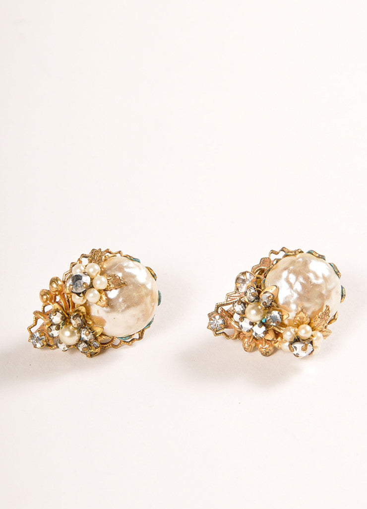Original by Robert Gold Toned and Cream Faux Pearl and Rhinestone Clip On Earrings Sideview