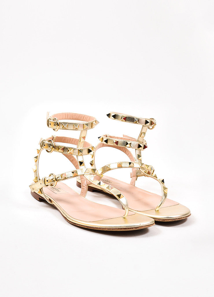 "Valentino Garavani Silver Gold Metallic Leather ""Rockstud"" Sandals Front"