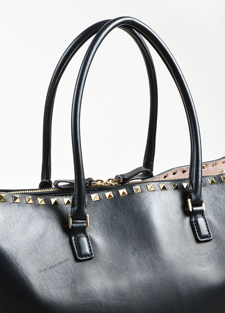 "Valentino Garavani Black Leather ""Rockstud"" Top Handle Shopper Tote Bag Detail 2"