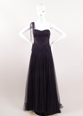 Vera Wang Purple Silk Tulle Sweetheart Neck One Shoulder Gown Frontview