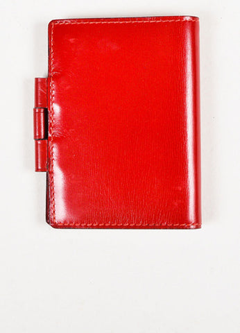"Hermes Red Box Calf Leather ""Vision Mini"" Agenda and Inserts Frontview"