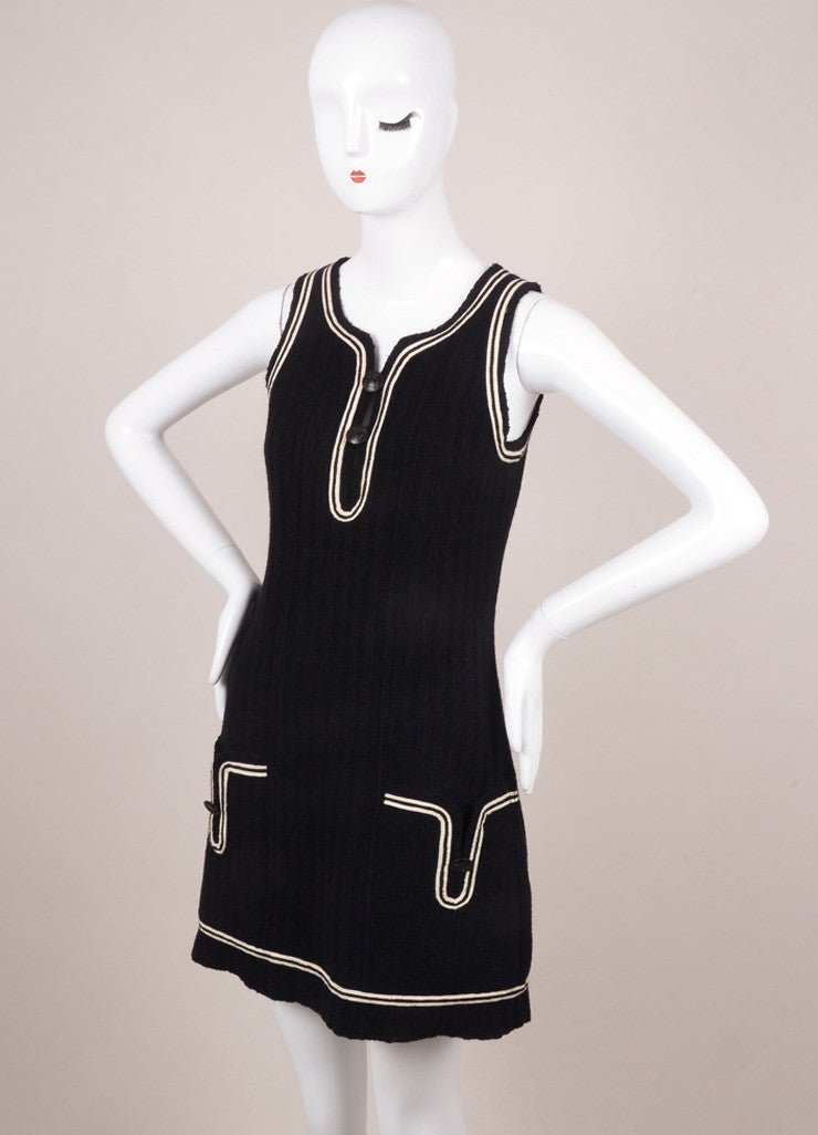 Chanel Black and White Trim Sleeveless Knit Shift Mini Dress Sideview
