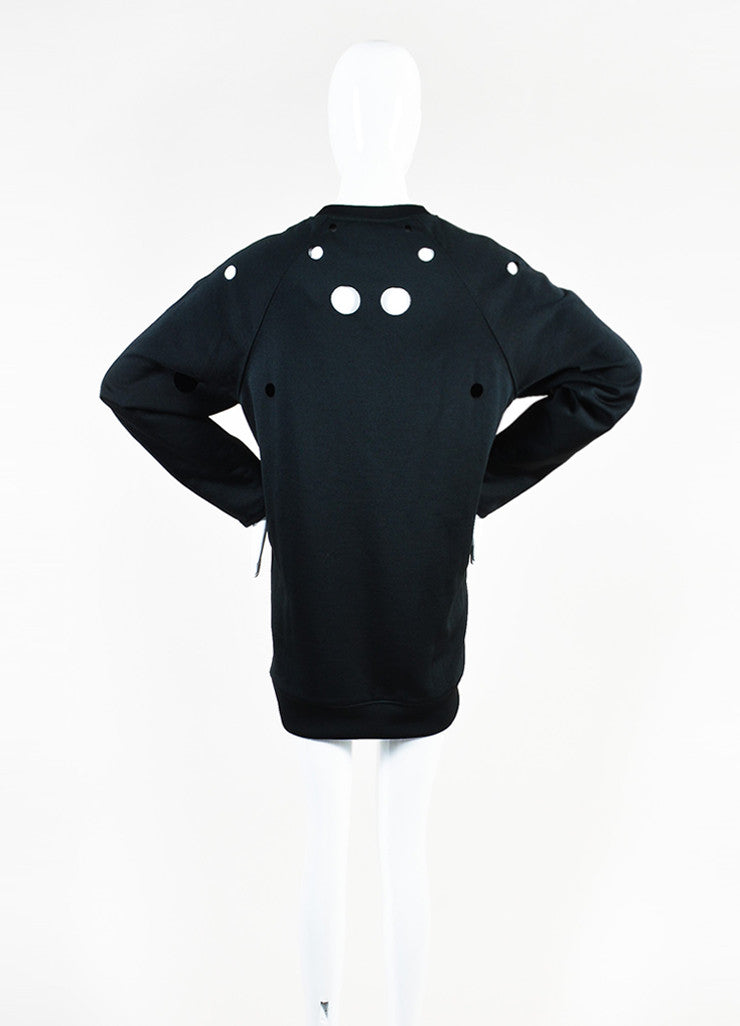 "Acne Studios Black Cotton Knit Cut Out ""Fiera"" Long Sleeve Sweater Dress Backview"