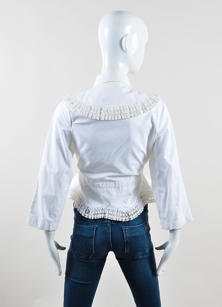 Alaia White Poplin Eyelet Embroidered Crop Sleeve Belted Top Backview