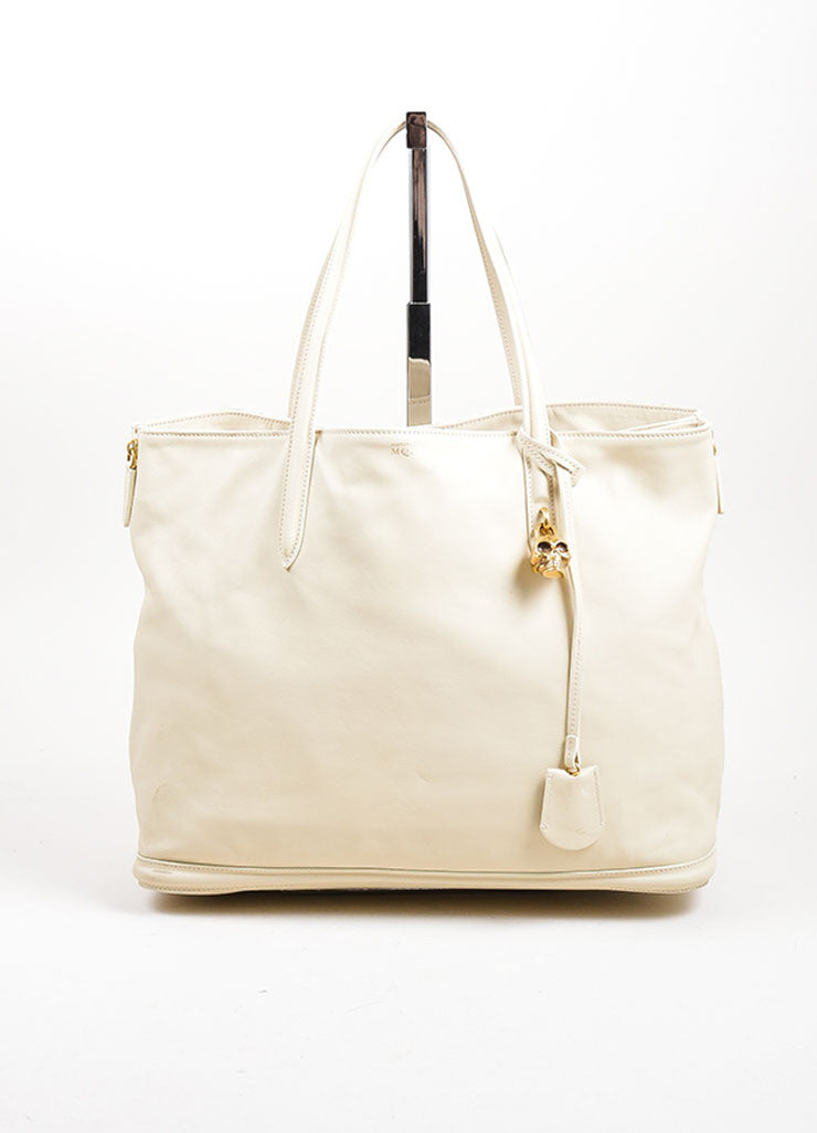 Beige Alexander McQueen Leather Skull Padlock Top Handle Shopper Tote Bag Frontview