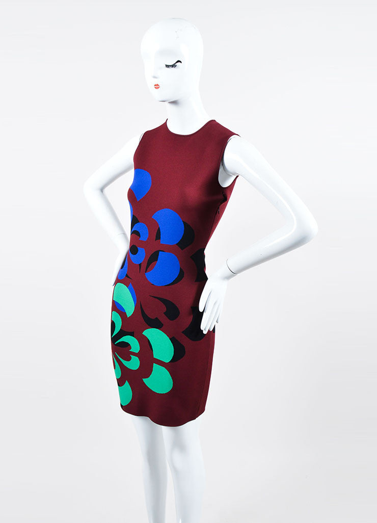 Maroon and Multicolor Alexander McQueen Stretch Knit Bodycon Dress Sideview
