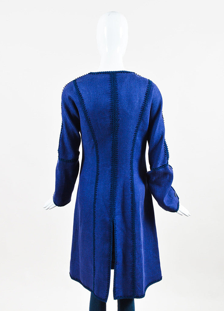 Andrew Gn Two Tone Blue Linen Embroidered Midi Coat Backview