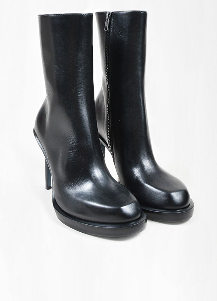 "Black Leather Ann Demeulemeester ""Riffs"" Square Toe Boots Frontview"