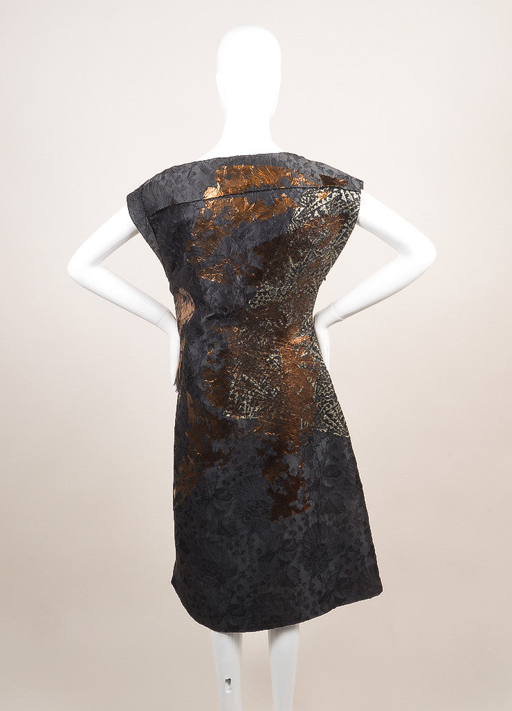 Bottega Veneta New With Tags Blue, Metallic Silver, and Bronze Silk and Lace Dress Backview