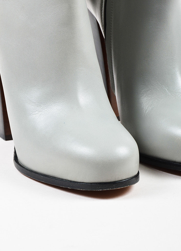 Celine Grey Leather Round Toe Stacked High Heel Mid Calf Boots Detail