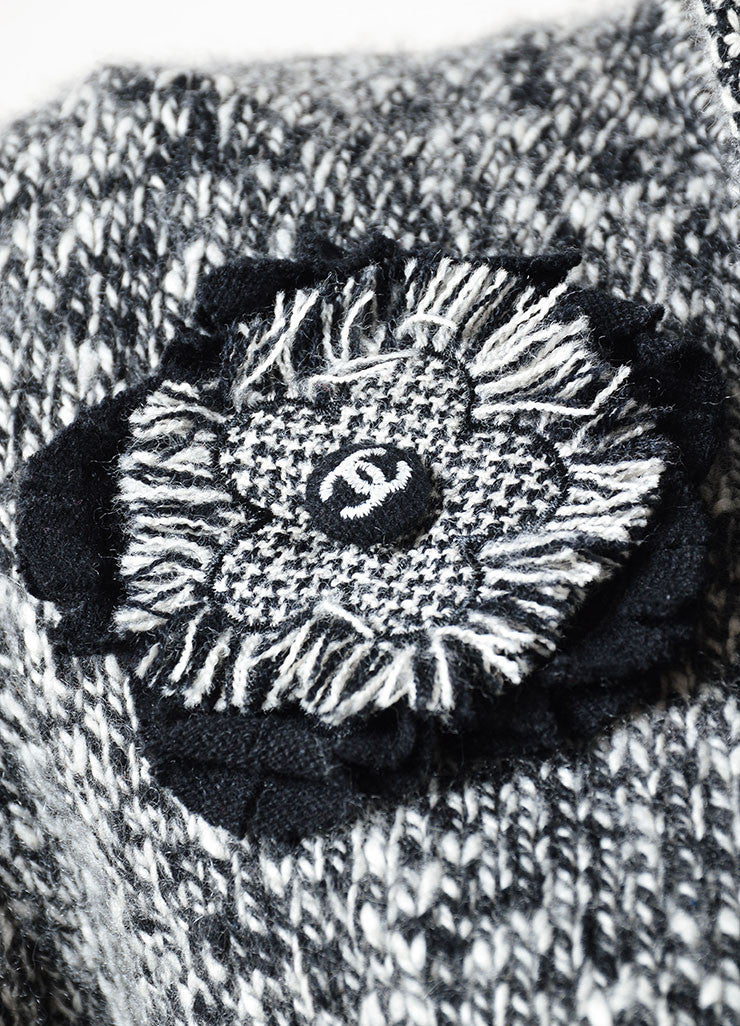 Chanel Black and White Cashmere Knit Rosette Pin Zip Cardigan Detail