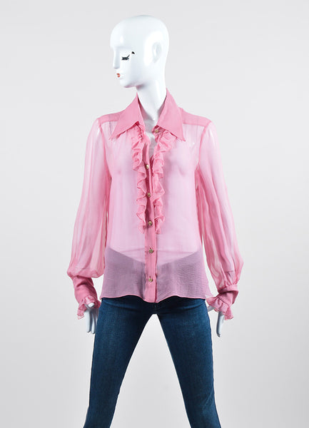 Pink Chanel Sheer Silk Ruffle Long Sleeve Button Blouse