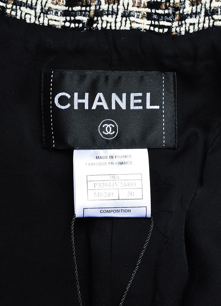 Chanel Brown, Black, and White Wool Tweed Twill Trim Jacket Brand