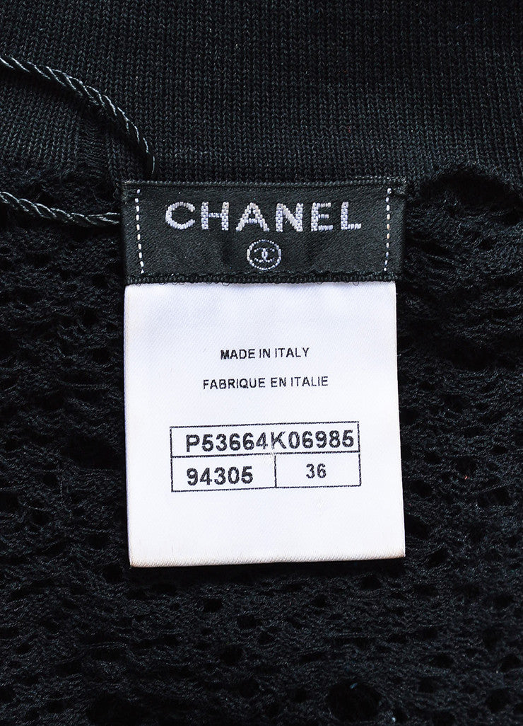 Chanel Black Cotton Open Knit Cardigan Sweater Brand