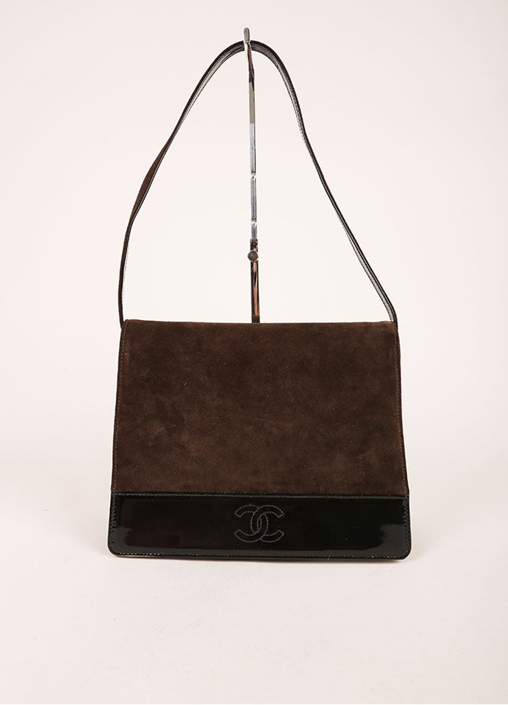 Chanel Brown and Black Suede Leather Patent Trim Shoulder Handbag Frontview