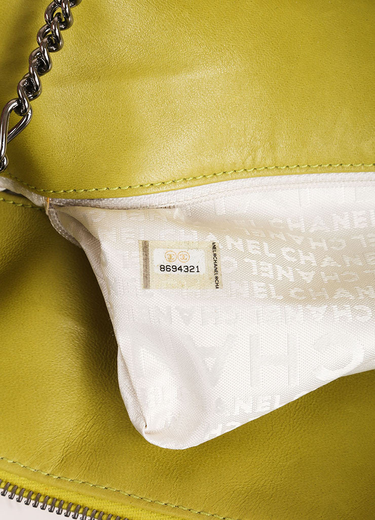 Chanel Lime Green Lambskin Leather Quilted Multi Chain Shoulder Bag Serial
