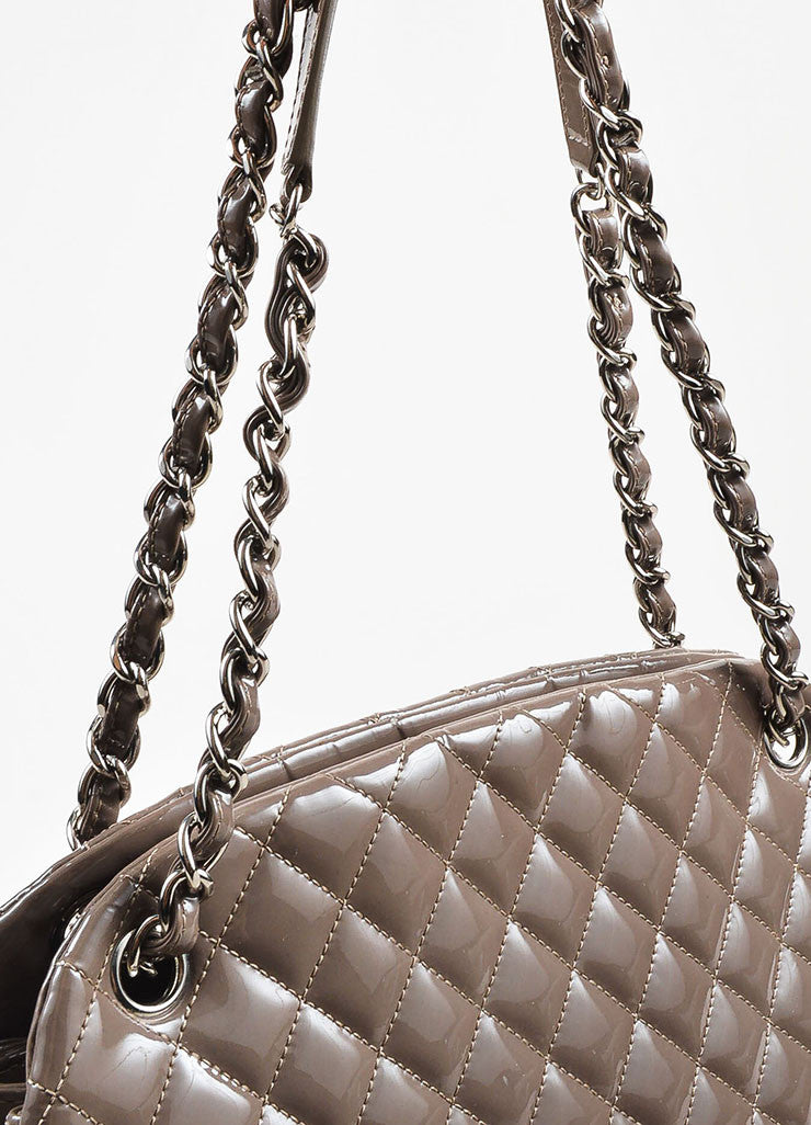 "Chanel Taupe Patent Leather Silver Toned Chain ""Just Mademoiselle Large"" Bag Detail 2"