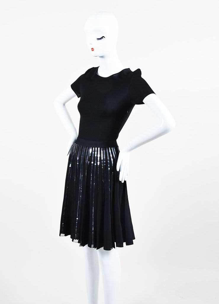 Black Christian Dior Sequin Detail Pleated Short Sleeve Dress Sideview