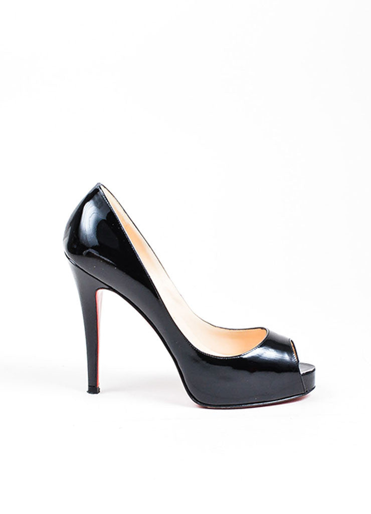 Black Christian Louboutin Patent Leather Peep Toe Pumps Side