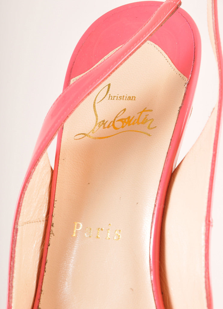 "Christian Louboutin Pink Patent Leather ""So Private"" Peep Toe Slingbacks Brand"