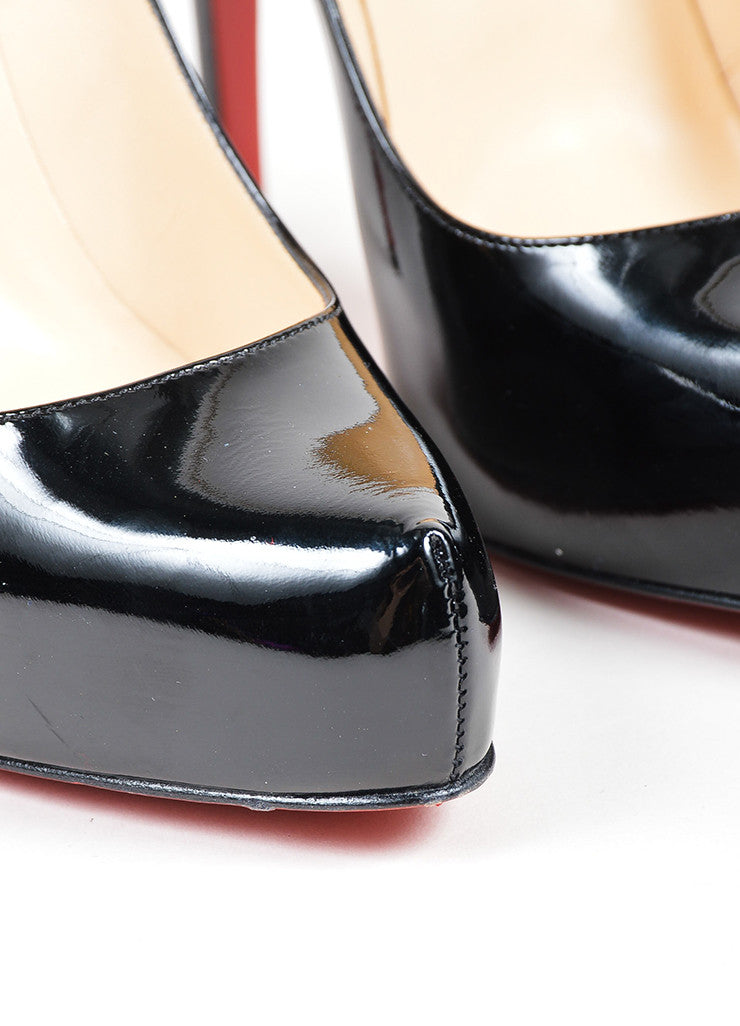Black Christian Louboutin Rolando 120 Patent Leather Platform Pumps Detail