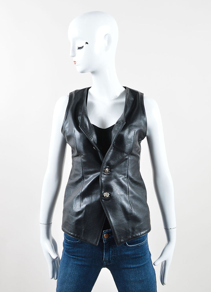 Chrome Hearts Black Leather Lace Up and Buttoned Vest Frontview