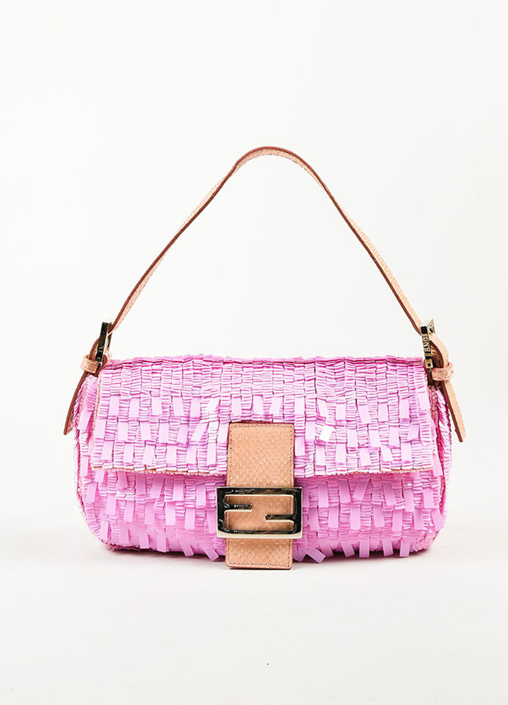 "Fendi Pink Blush Sequin Python Silver Toned 'FF' Flap ""Baguette"" Shoulder Bag Frontview"