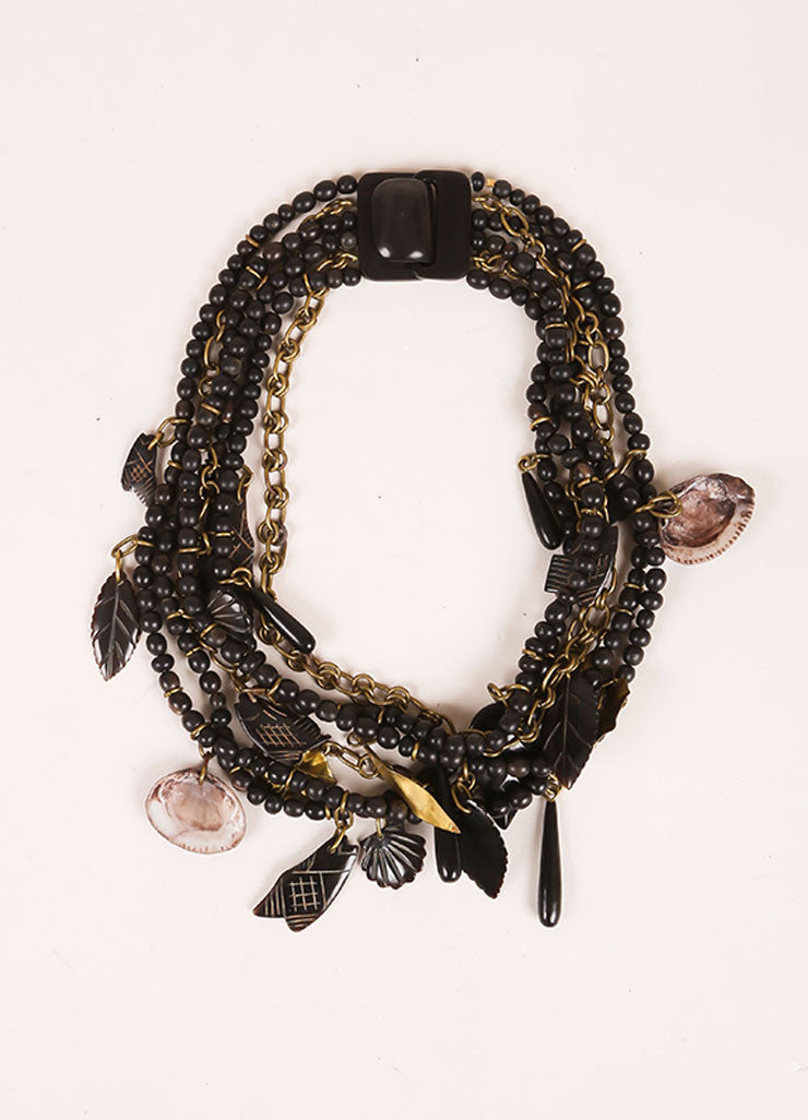 Gerda Lynggaard Monies Black, Brown, and Gold Toned Metal and Wood Beaded Layered Necklace Frontview