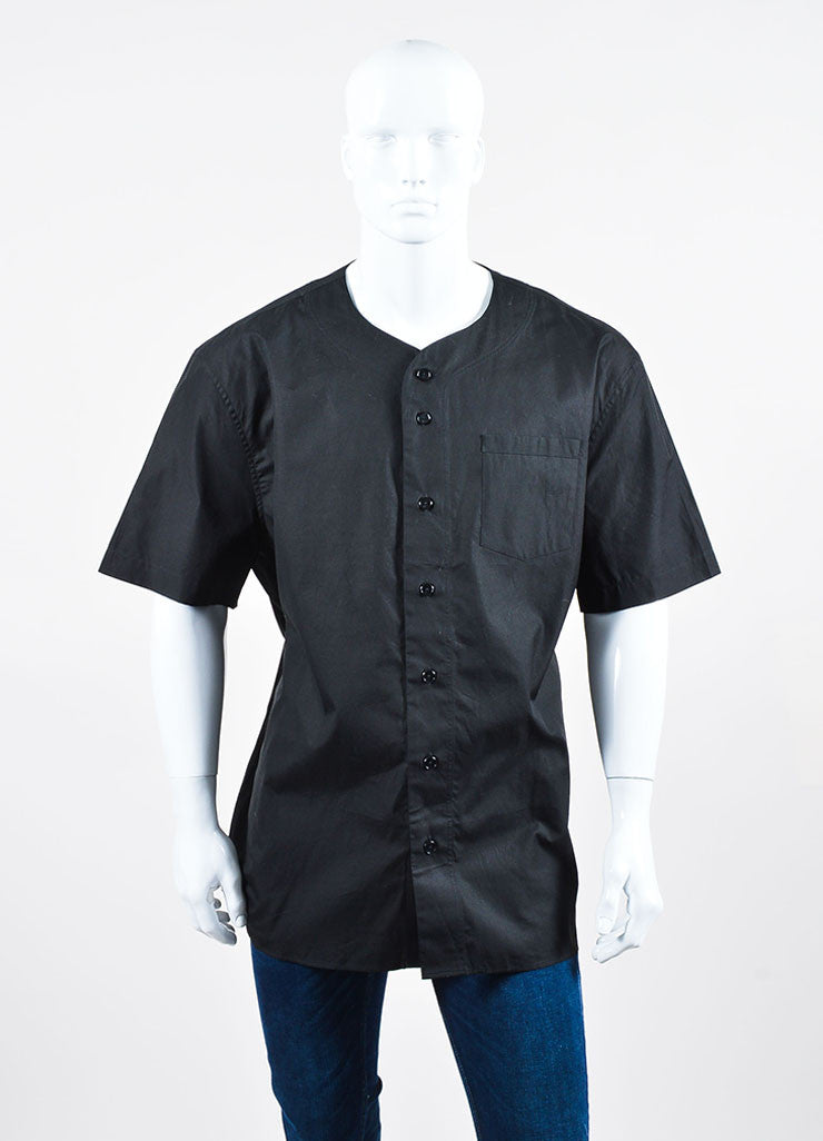"Men's Black White Givenchy Number ""17"" Button Down Baseball Shirt Front"
