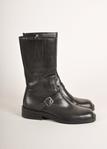 Gucci Black Leather Buckle Square Toe Moto Boots Sideview
