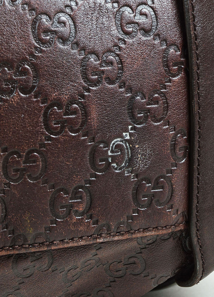 "Gucci Brown 'GG' Embossed Guccissima Leather Braided Handle ""Pelham"" Tote Bag Detail 2"