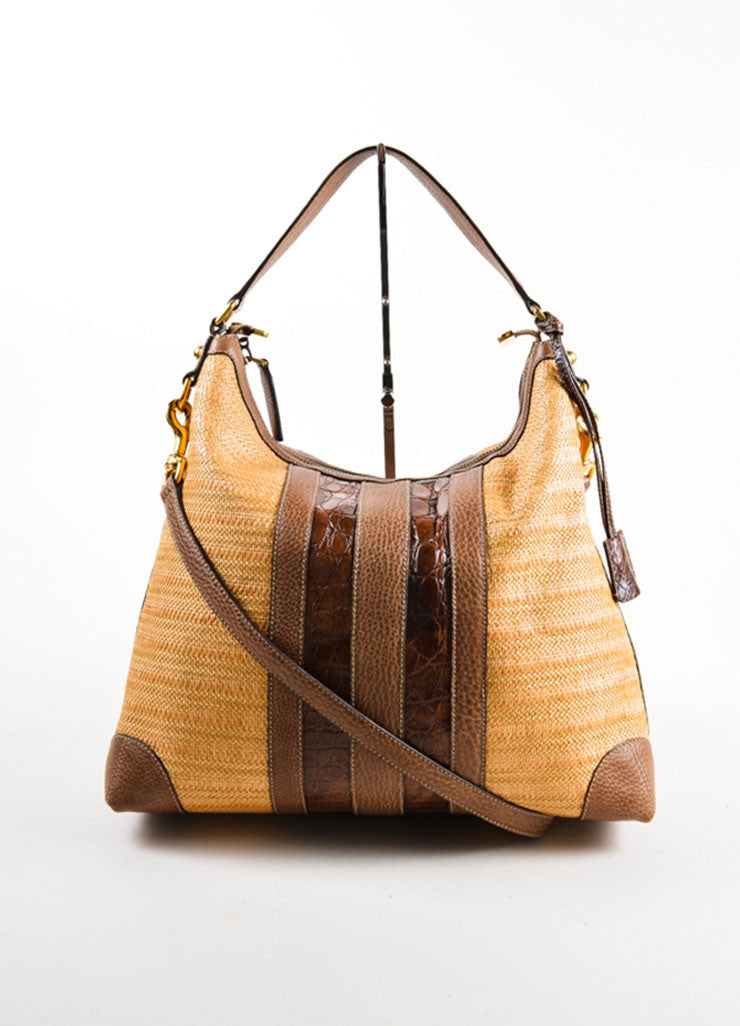 "Gucci Brown Straw and Crocodile Leather ""Secret"" Hobo Bag Frontview"