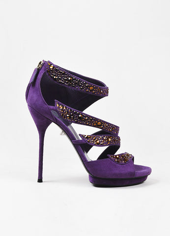 "Gucci Purple and Brown Suede Rhinestone Embellished ""Rachel"" Sandal Heels Sideview"