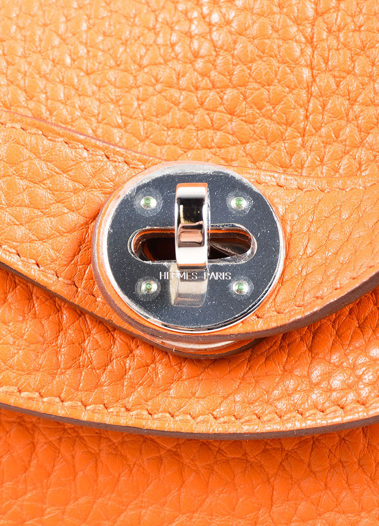 "Hermes Fire Orange Taurillon Clemence Calfskin Leather 30cm ""Lindy"" Bag Detail 3"