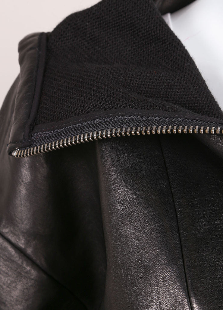 "Iro New With Tags ""Jeffrey"" Black Leather Hooded Bomber Jacket Detail"