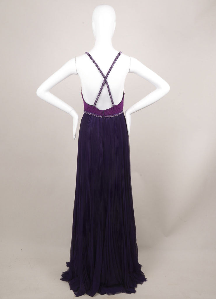 J. Mendel New With Tags Purple Silk Beaded Sleeveless Pleated Gown Backview