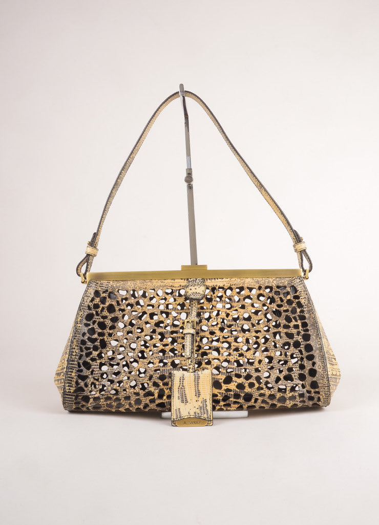 Jil Sander New With Tags Cream and Grey Lizard Leather Laser Cut Frame Shoulder Bag Frontview