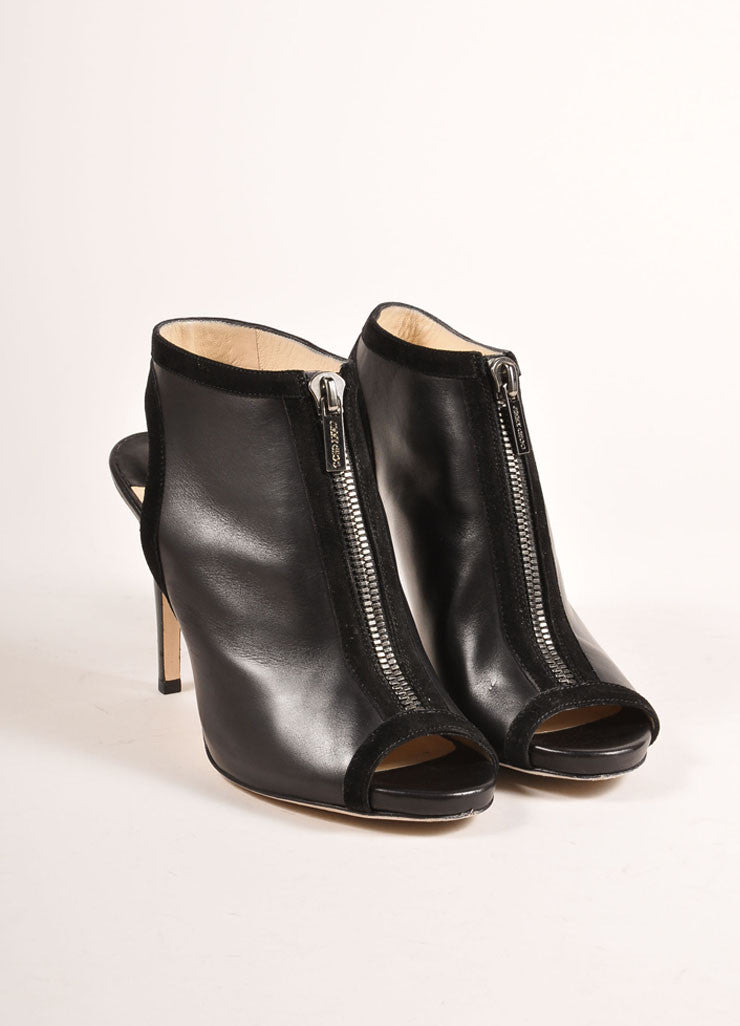 "Jimmy Choo Black Suede Leather Zip ""Mayva"" Booties Frontview"