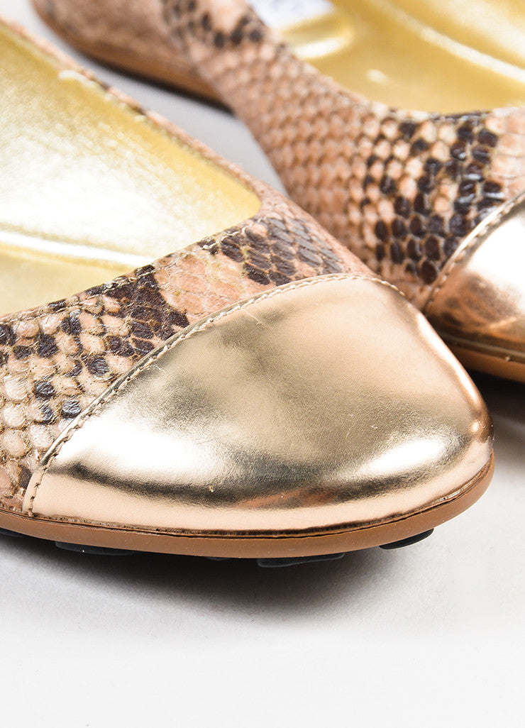 "Jimmy Choo Cream and Brown Snake Embossed Cap Toe ""Whirl"" Flats Detail"
