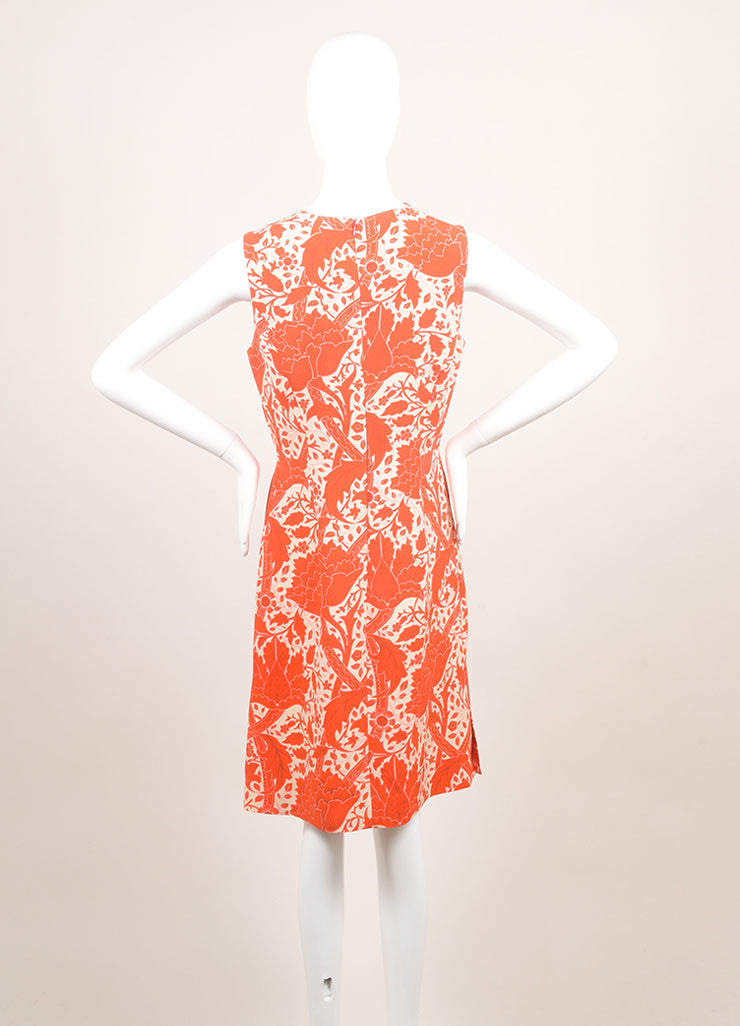 Jonathan Saunders New With Tags Red and Beige Silk and Wool Floral Print A-Line Dress Backview