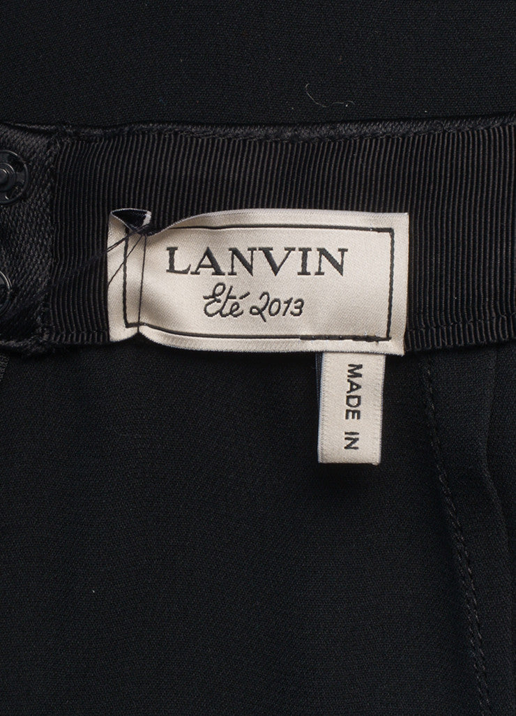 Lanvin New With Tags Black Satin and Silk Blend Tux Band Pencil Skirt Brand
