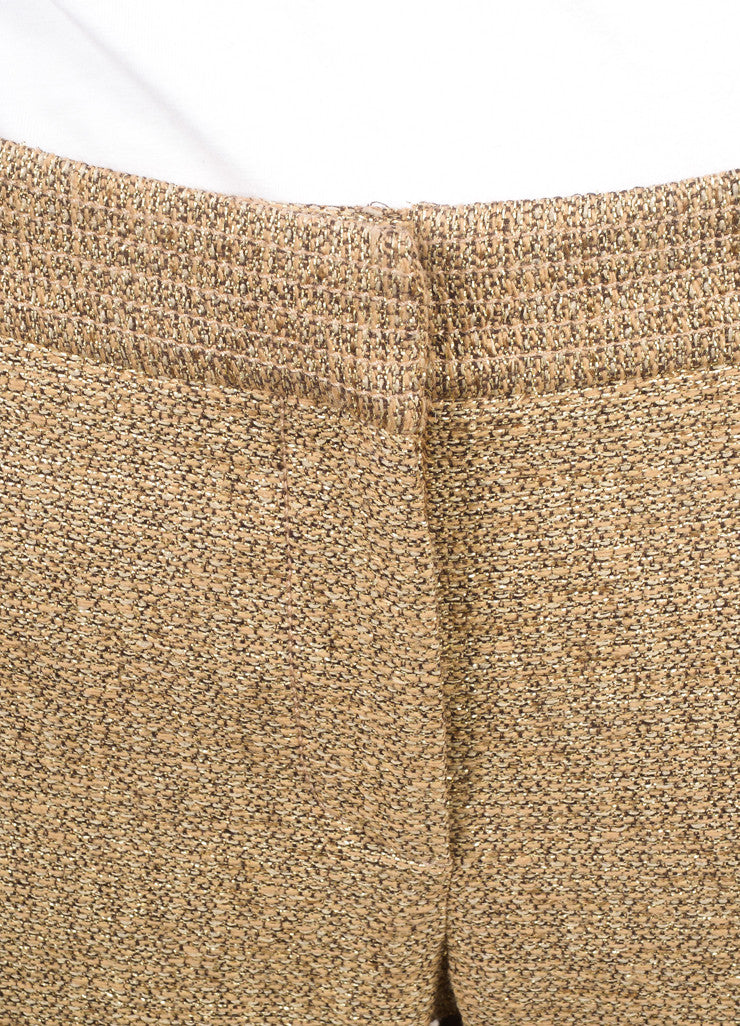 Lela Rose New Metallic Gold Cotton Blend Woven Slim Trousers Detail