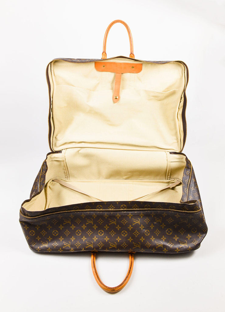 "Louis Vuitton Brown and Tan Monogram Canvas ""Sirius 60"" Suitcase Luggage Interior"