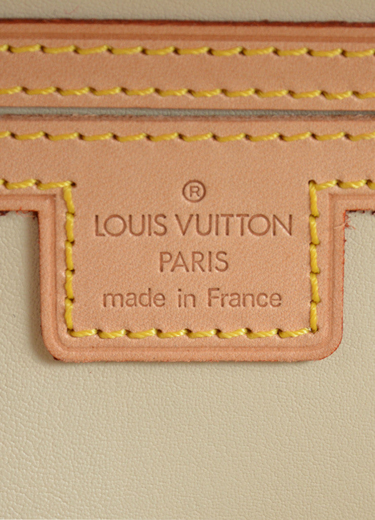 Louis Vuitton Tan, Blue, and Orange Patent Leather Vernis Embossed Pochette Fleur Bag Brand