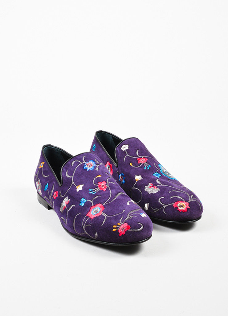 Men's Jimmy Choo Purple Pink Blue Suede Floral Embroidered Loafers Front