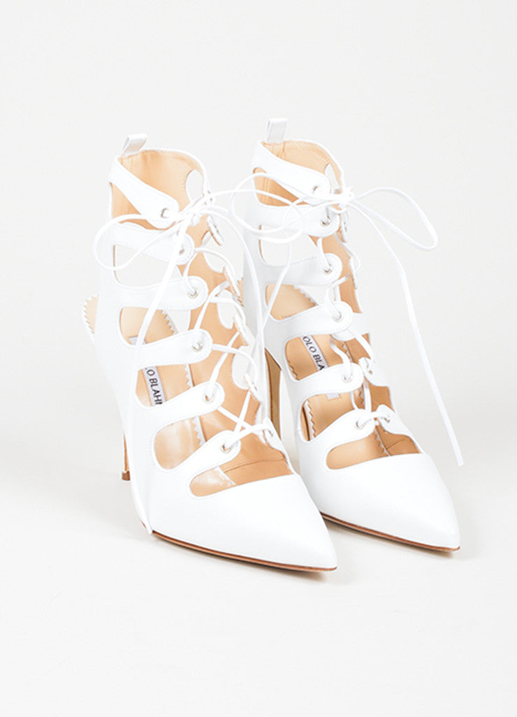 "White Manolo Blahnik Leather Lace Up Pointed Toe ""Latta"" Pumps Frontview"