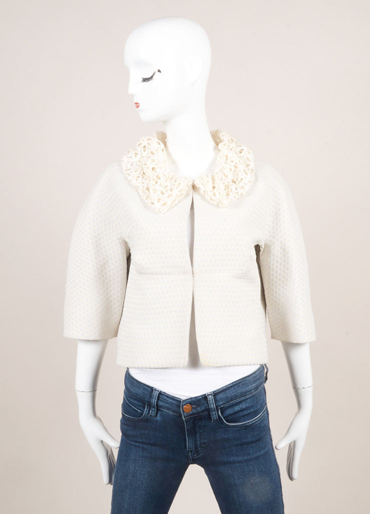 Marc Jacobs Lavender and Ivory Woven Eyelet Collar Cropped Jacket Frontview